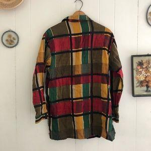 Vintage Tops - Vtg Plaid Linen Button Down